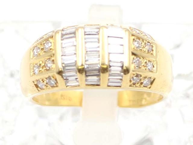 ☆新着 値下げ【K18YG イエローゴールド】 指輪 リング ダイヤモンド0.63ct ダイヤモンド0.11ct 5.5g 14.5号 レディース 11245-0