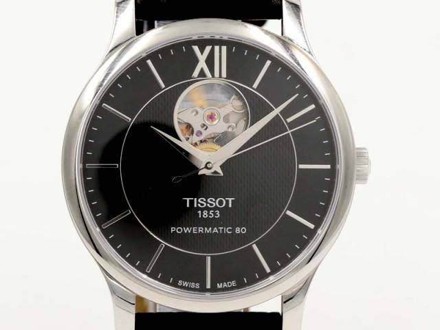 【TISSOT ティソ】T063.907.16 パワーマティック80 トラディション 40mm SS/革 スケルトン 自動巻 メンズ 新着 12236-0