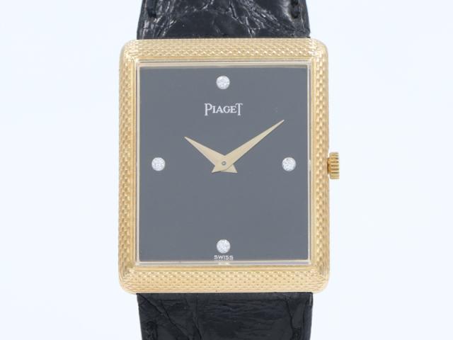 【PIAGET ピアジェ】アンティーク 24mm K18YG/革 4Pダイヤ 手巻 メンズ □新着 12360-0