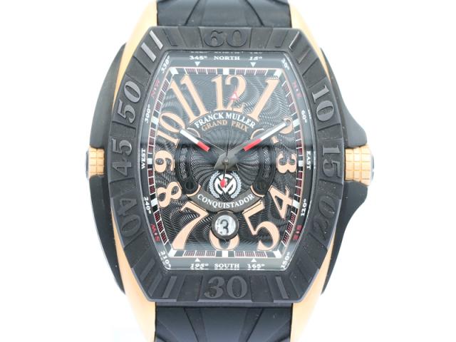 【フランクミュラー FRANCK MULLER】8900SCJ  コンキスタドール グランプリ K18/PVD/革 自動巻 デイト メンズ 箱 新着 12702-0