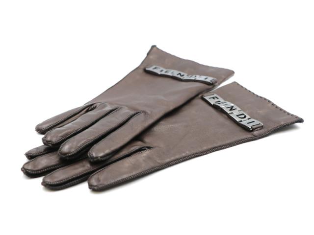 【フェンディ FENDI】手袋 レザー シルク100% サイズ6.5  レディス 新着 12891-0