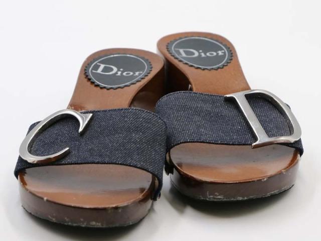〇新着【Christian Dior クリスチャンディオール】ウッド ミュールサンダル CDロゴ デニム地 サイズ35 イタリア製 レディース 8743-0