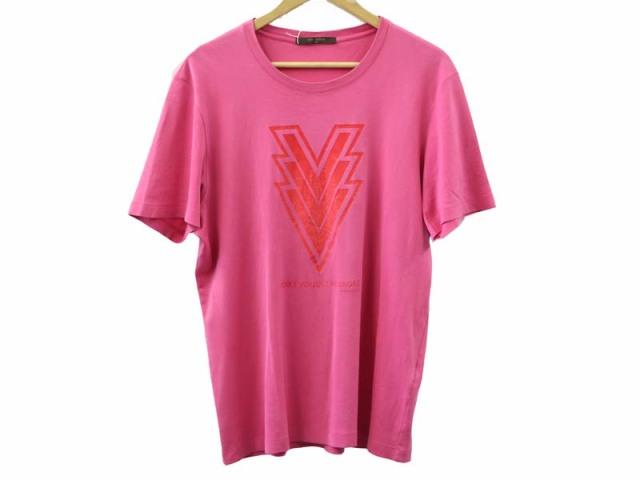 〇新着【LOUIS VUITTON ルイヴィトン】Volez Voguez Voyagez 半袖 Tシャツ カットソー クルーネック ピンク サイズXL メンズ 1631-0