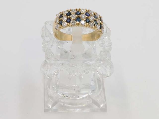 ☆新着【K18YG イエローゴールド】指輪 リング サファイア0.97ct ダイヤモンド1.58ct 24号 8.4g レディース 2309-0