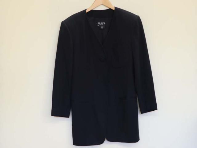 〇新着 送料無料【GUCCI グッチ】ノーカラージャケット ブラック サイズ40 レディース 2930-0