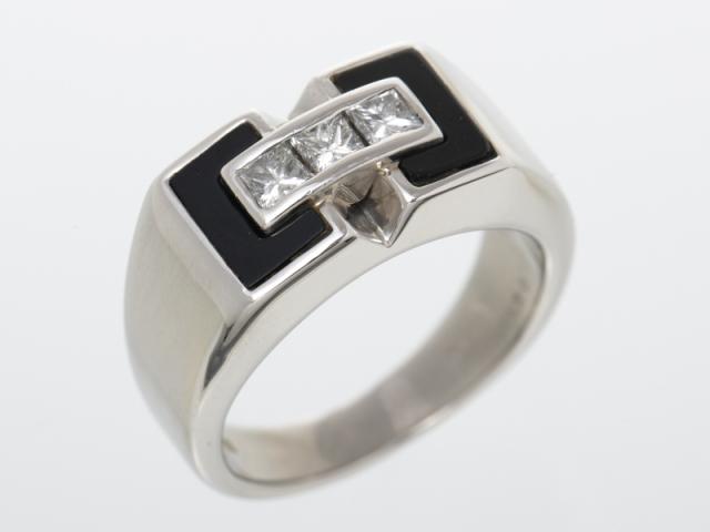 ☆新着【PT900 プラチナ】指輪 印台リング オニキス ダイヤ0.50ct 18号 18.0g メンズ 70955-7