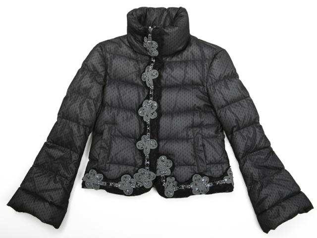 〇新着【EMPORIO ARMANI エンポリオ アルマーニ 】ダウンジャケット サイズ38 グレイ×ブラック レディス 5956-0