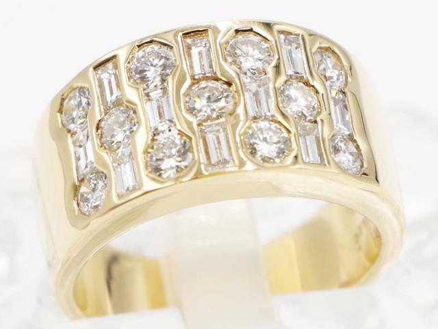 ☆新着 送料無料【K18YG イエローゴールド】 指輪 リング ダイヤモンド0.57ct ダイヤモンド0.71ct 7.7g 9.5号 レディース 7682-0