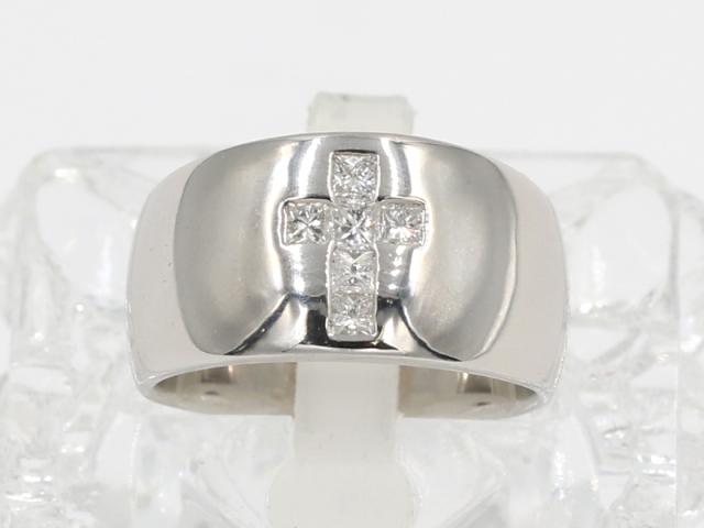 ☆新着【PT900 プラチナ】クロス ダイヤ リング 指輪 ダイヤ0.30ct 13号 13.3g レディース 7847-0