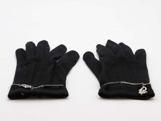〇新着【Chistian Dior クリスチャンディオール】カシミヤ 手袋 フランス製 7インチ CHS51249 ノワール レディス 8753-0