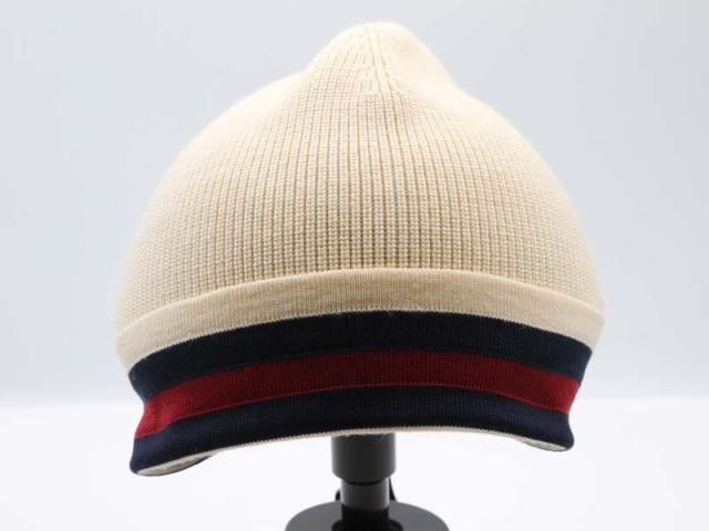〇新着【GUCCI グッチ】シェリーライン ニット帽 ウール ベージュ サイズM ユニセックス 8761-0