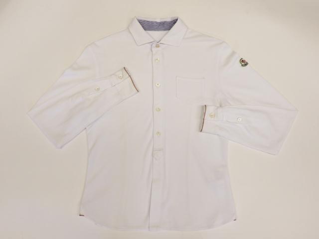 〇新着 送料無料【MONCLER モンクレール 】ポロシャツ 鹿の子 綿100% 長袖 サイズS ホワイト メンズ 8762-0