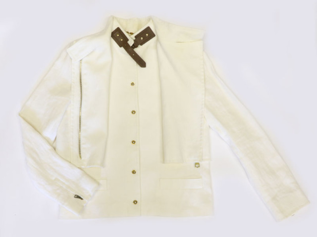 〇新着【GUCCI グッチ】ブルゾン ジャケット  オフホワイト 麻  サイズ38 レディース イタリア製 8767-0