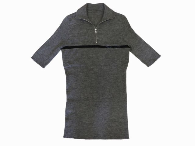 〇新着【PRADA プラダ】ハイネック ウール 半袖セーター グレイ サイズ40 イタリア製 レディース 8787-0
