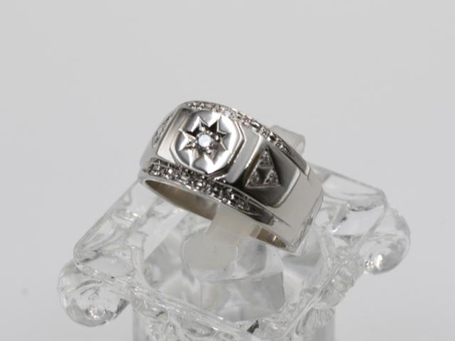 メンズジュエリー【PT900 プラチナ】指輪 リング 印台 ダイヤ0.20ct 14.8g 19号 メンズ 9566-0