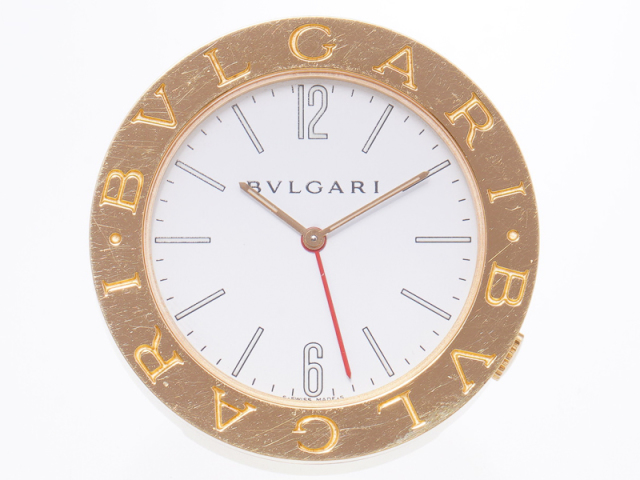 新着サマーセール 送料無料【BVLGARI ブルガリ】ABB37WG トラベルクロック アラーム GP/SS クォーツ 置時計 99999-0