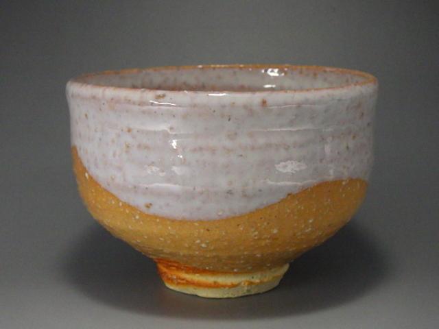 広瀬淡雅(萩焼白釉枇杷色抹茶茶碗)