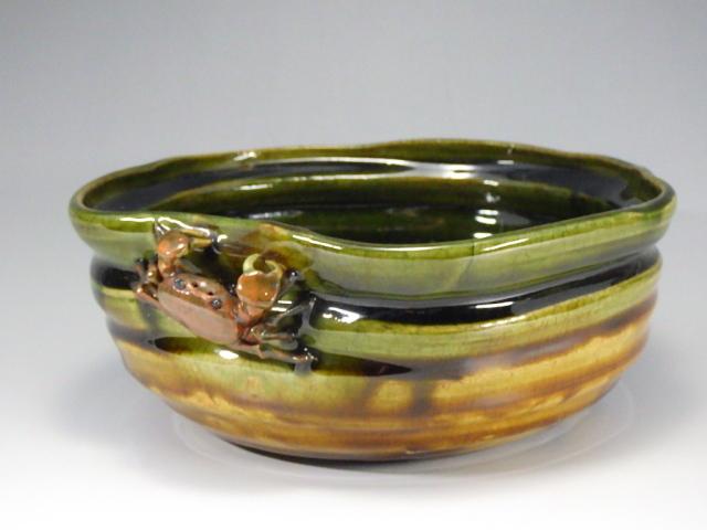 古物(織部釉蟹菓子鉢)