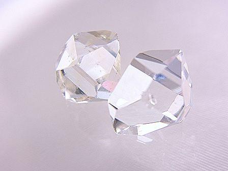 ハーキマーダイヤモンド ☆ 煌きが美しい最高品質ルース(原石)2粒! ☆ 12.5 mm&11.5 mm/9.0 カラット