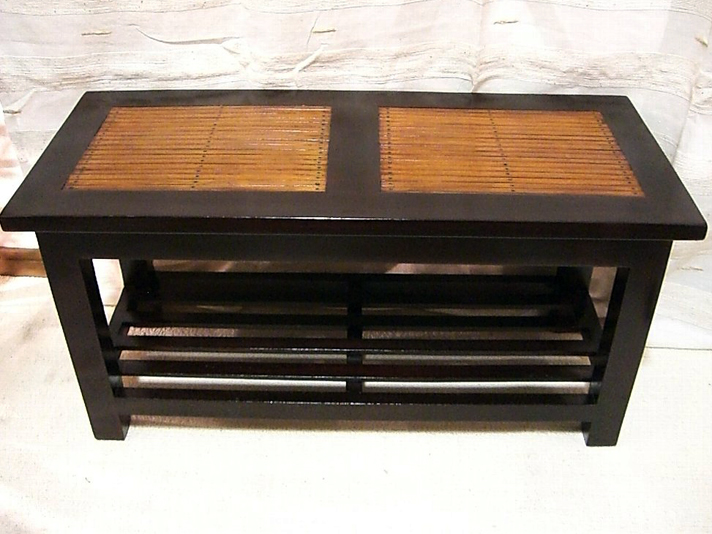 < 横幅 70cm >バンブー素材のローテーブル テーブルの下に一段あれば、使い方がひろがる!【LNT-055BR】《送料無料》