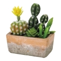 フェイクグリーン 花サボテン寄せ植え レクトポット S