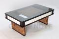 《送料無料》<横幅100cm>高級感溢れるストーンカービングローテーブル【WLT-06】