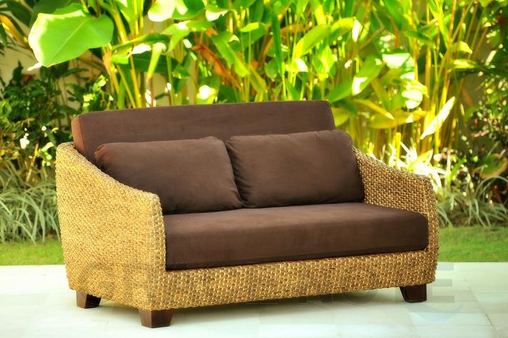 《送料無料》ウォーターヒヤシンスの美しい曲線が上品な2人掛けソファー【WS21-2P】