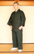 作務衣(かく宗/新浪漫) 上下一組 深緑 M No.12