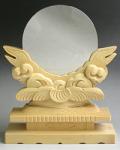 神鏡 白銅鏡+特上彫り雲形台 7寸 鏡台B