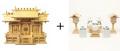 神棚 板葺屋根違い三社宮〈I-5〉+神具セット(ハーフ・小)のセット