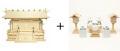 神棚 板葺三社宮〈I-7〉+神具セット(ハーフ・小)のセット