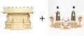 神棚 板葺三社宮〈I-7〉+神具セット(フル・小)のセット