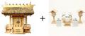 神棚 茅葺一社宮 五十鈴型〈K-10〉+神具セット(ハーフ・小)のセット