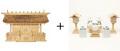 神棚 茅葺三社宮 普及型(大)〈K-7〉+神具セット(ハーフ・中)のセット