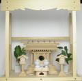 神棚 板葺一社宮〈I-22'〉+神具セット(ハーフ・小)+神棚板+雲板(中)のセット