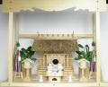 神棚 茅葺一社宮 五十鈴型袖付き〈K-11〉+神具セット(フル・小)+神棚板+雲板(大)のセット