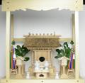 神棚 茅葺一社宮 神路型〈K-14〉+神具セット(フル・小)+神棚板+雲板(中)のセット