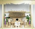 神棚 茅葺一社宮 正殿型〈K-8〉+神具セット(フル・中)+神棚板+雲板(大)のセット