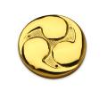 左三つ巴紋金具 本金鍍金 腰付 2寸5分