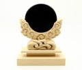 黒曜石製 神鏡+特上彫り雲形台 2寸
