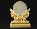 神鏡 白銅鏡+特上彫り雲形台 8寸