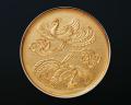神鏡 青銅鏡 飛雲双凰文鏡 金鍍金 3寸
