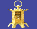 六角吊下灯篭 蝶足型 銅地本金鍍金 1尺