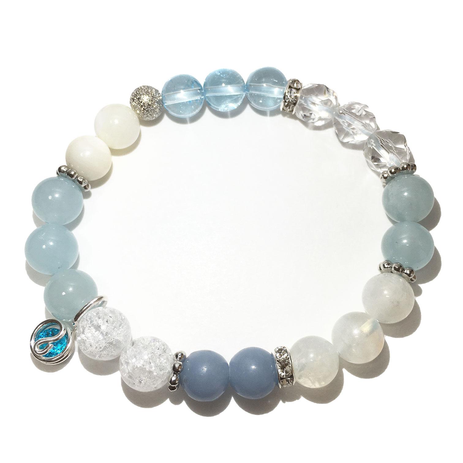 天然石ブレスレットチャーム付 ライトブルー08 女性用