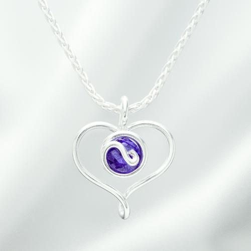オープンハートネックレス ジルコニア 紫