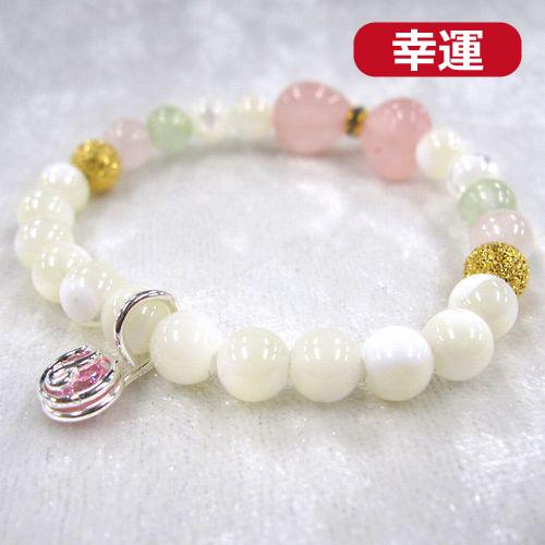 天然石ブレスレットチャーム付 ピンク07 (6mm珠) 子供用
