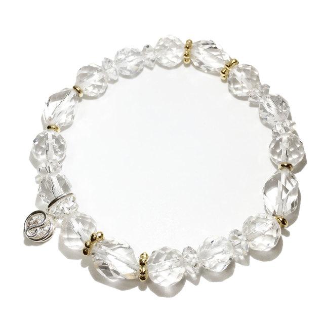 天然石ブレスレットチャーム付 ホワイト10 女性用