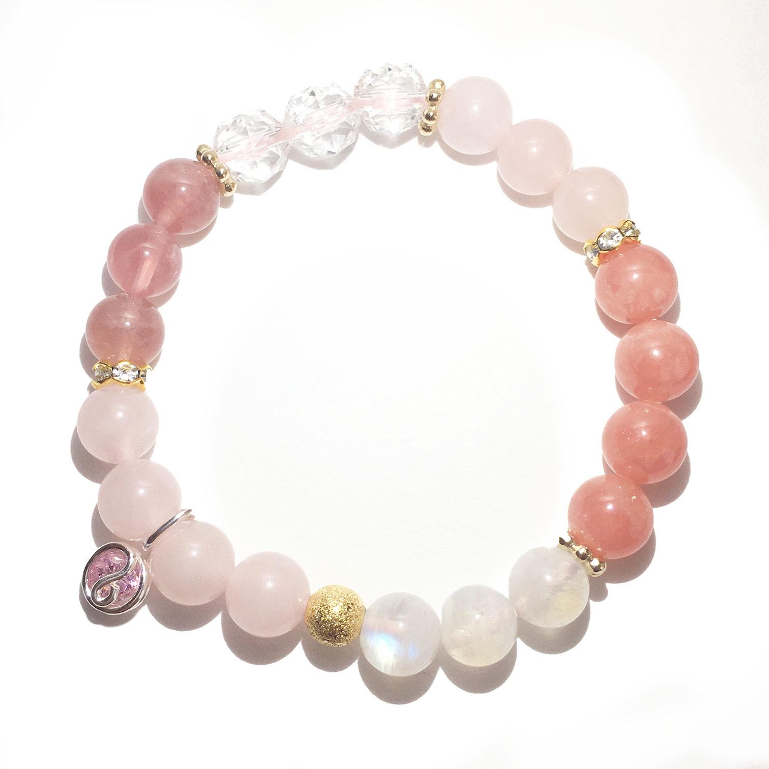 天然石ブレスレットチャーム付 ピンク10 女性用
