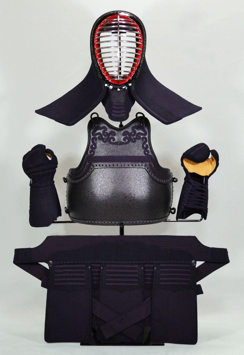上製6ミリピッチ刺紺合成革防具 「黒龍」