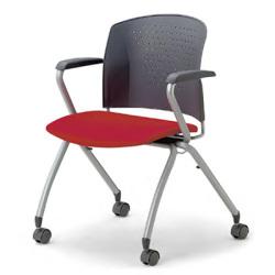 【スタッキング可】空間に変化を持たせる華やかなカラー。脚部が特徴の会議用チェア2脚セット。(キャスター付)AICO【MC-334WG】
